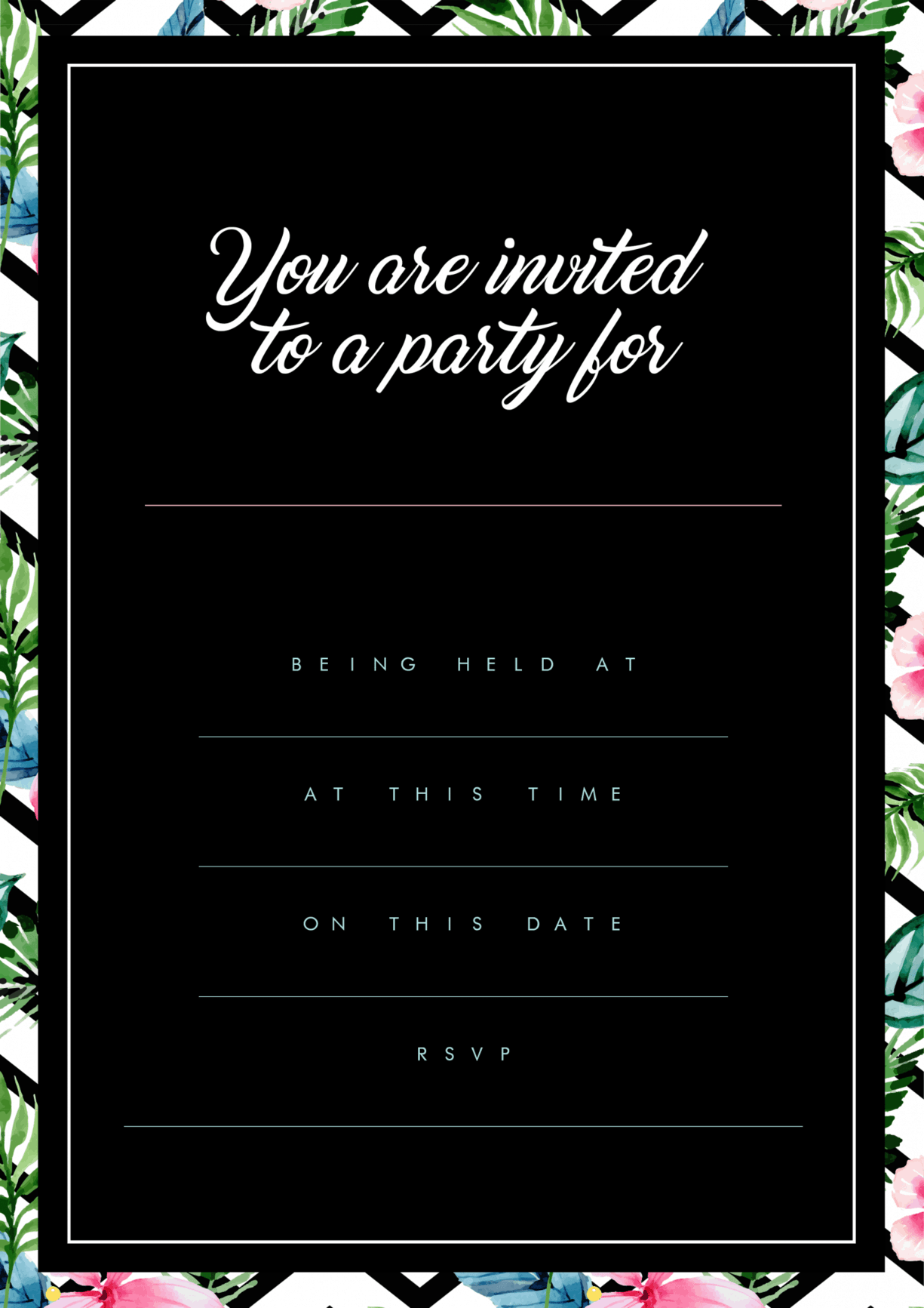 Stylish Modern Party Invite Black Background Floral