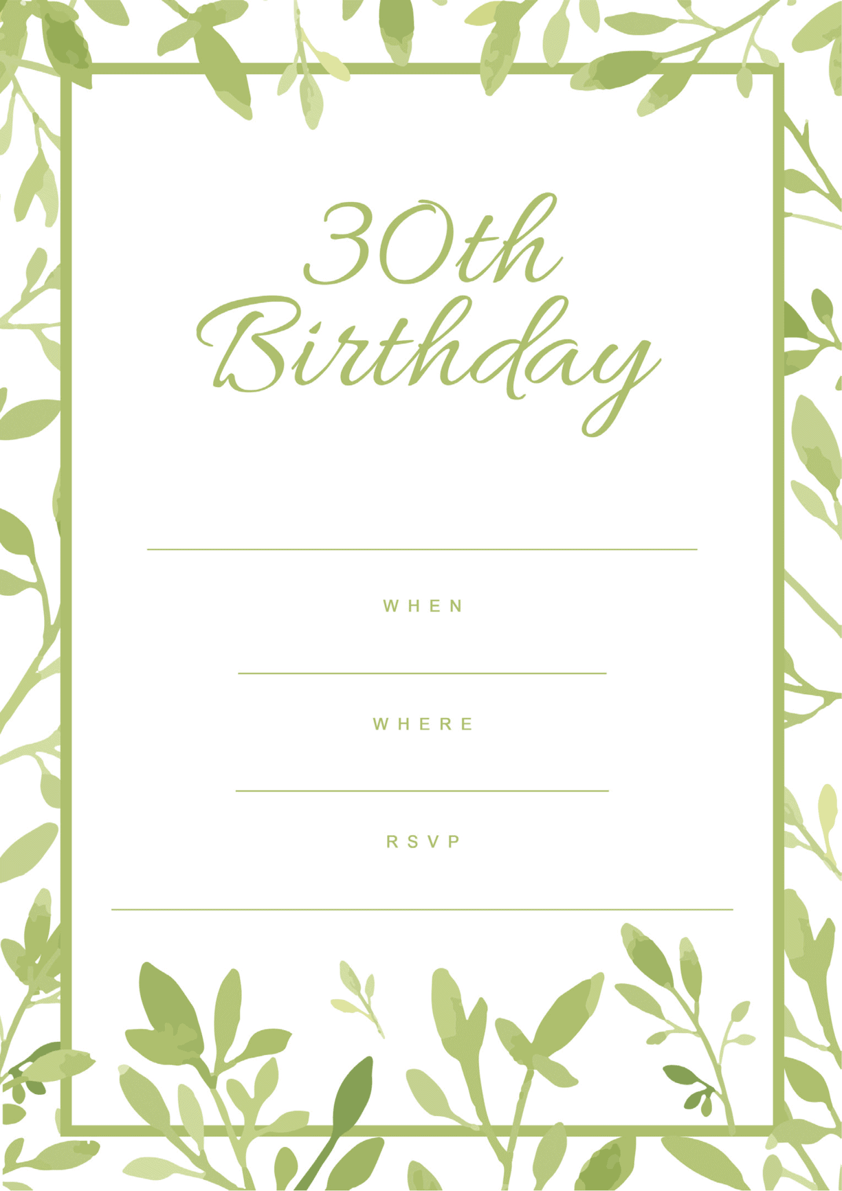 30th birthday invitation green white design