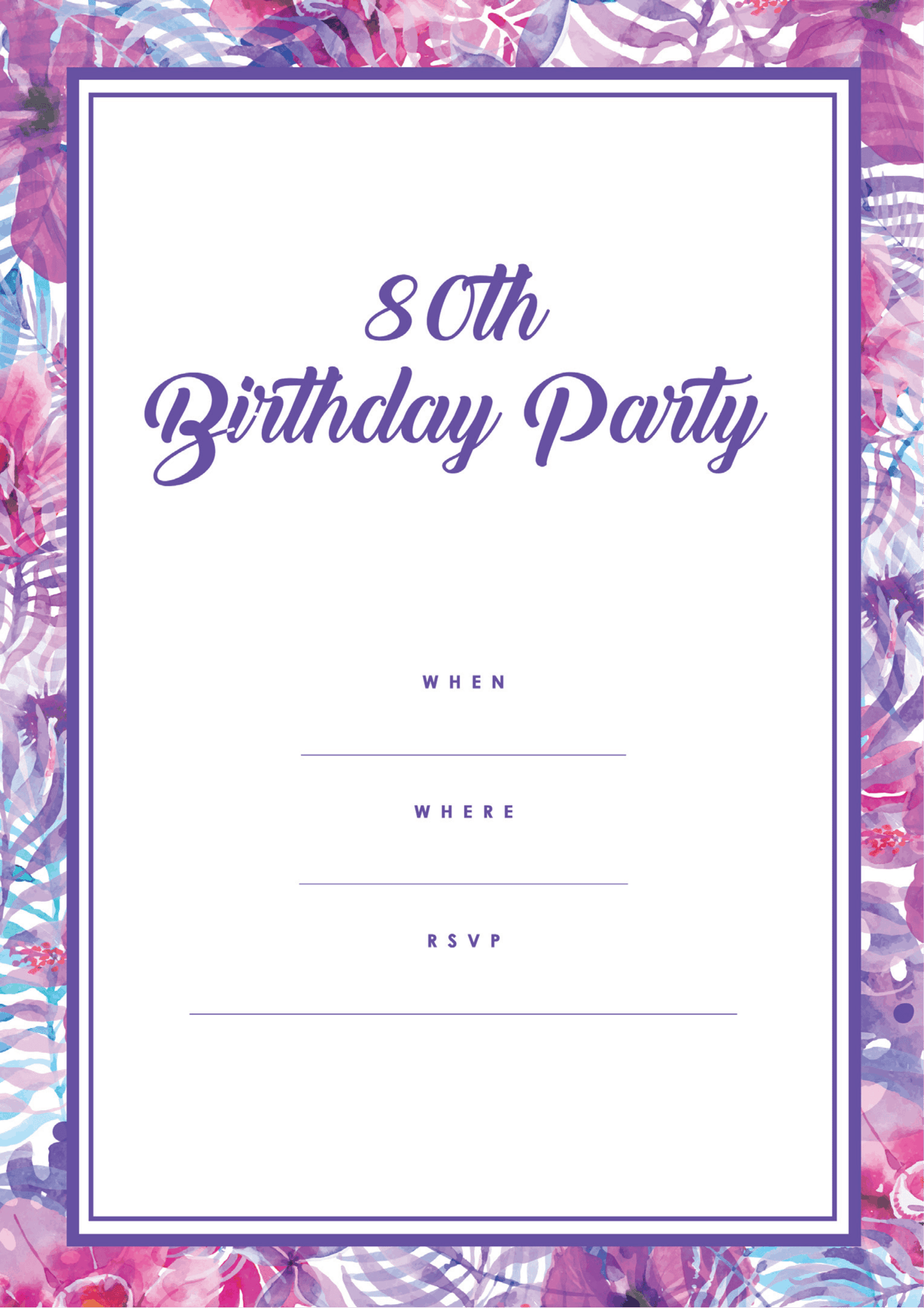 80th pink purple free printable