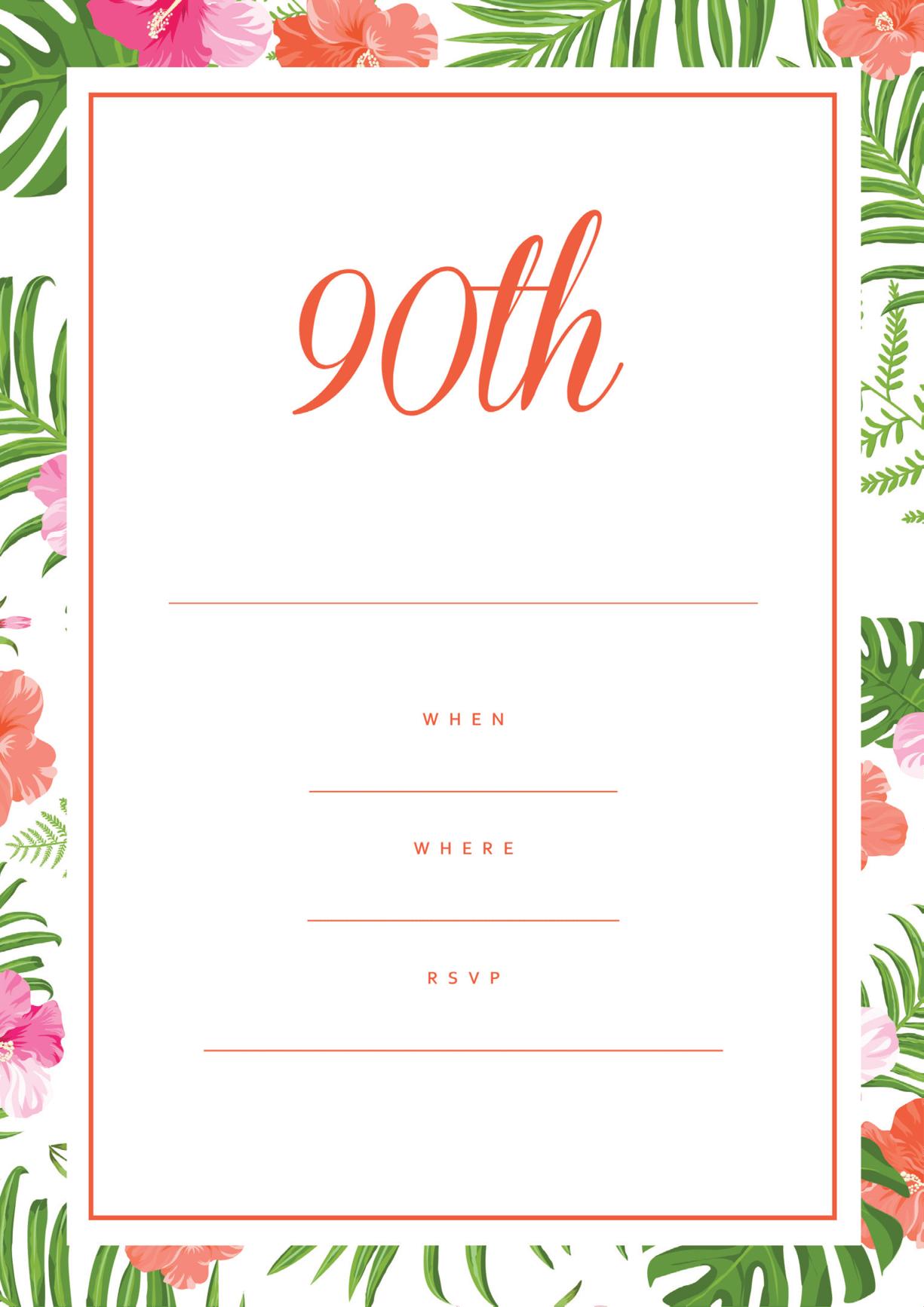 90th birthday party invitation hibiscus border