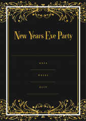 New Years eve party invitation black gold fancy design
