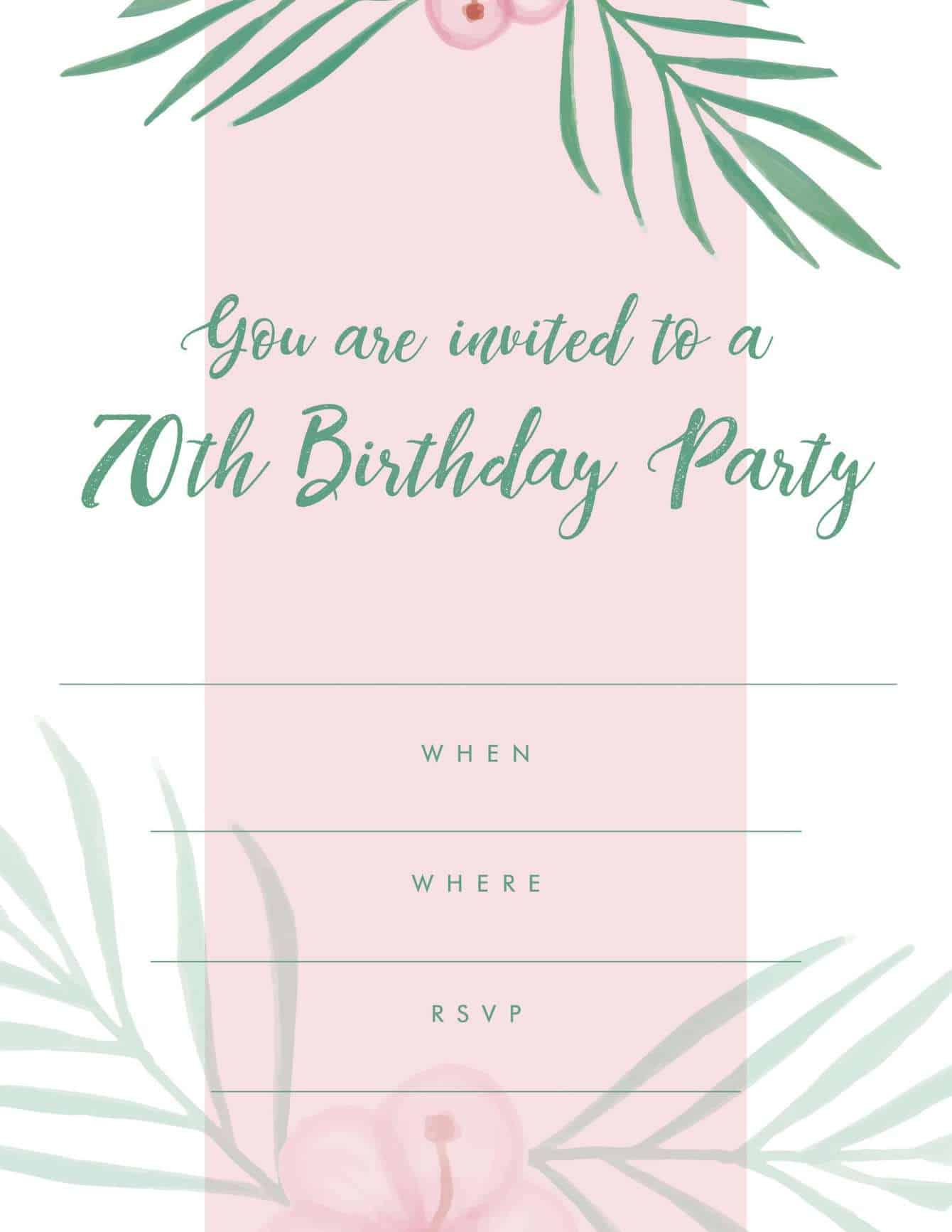 70th tropical paradise pink green party invitation