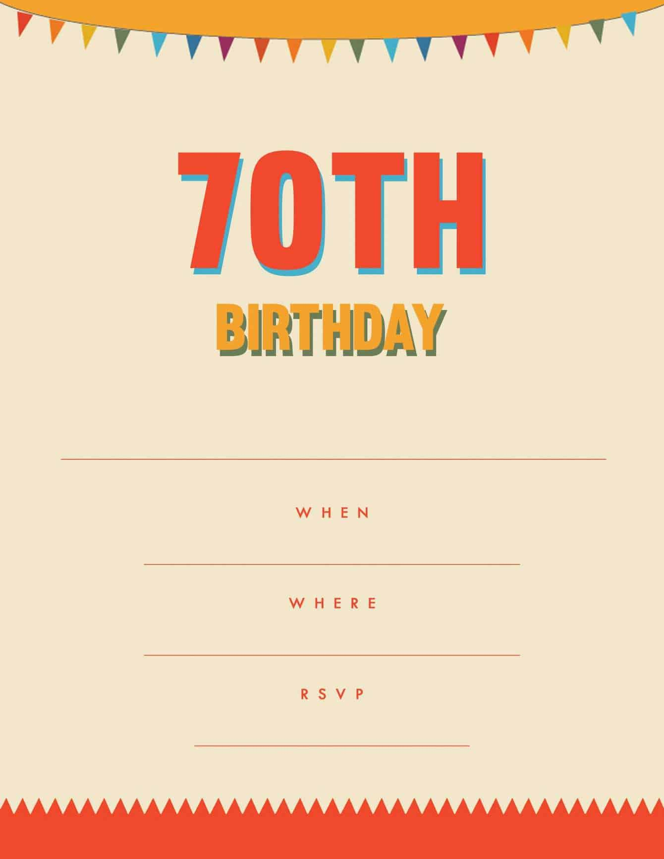 70th party invitation orange yellow bunting