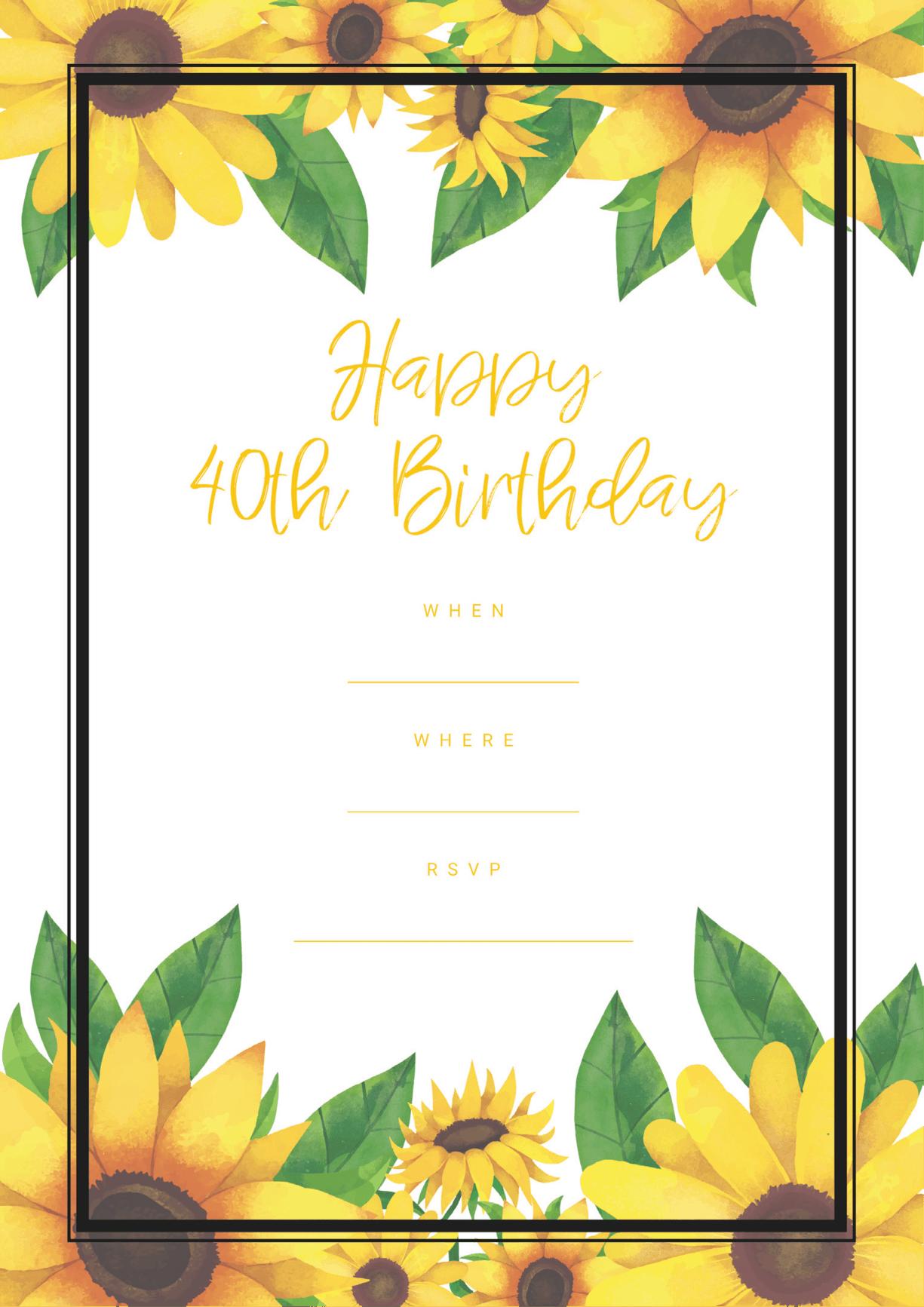 40th birthday invitation sunflower design