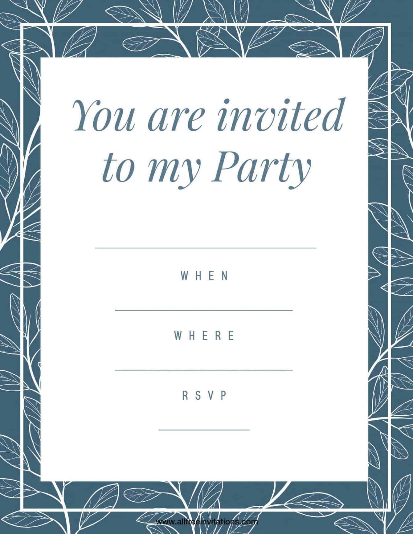 Birthday Party Invitation Blue Green Border Design
