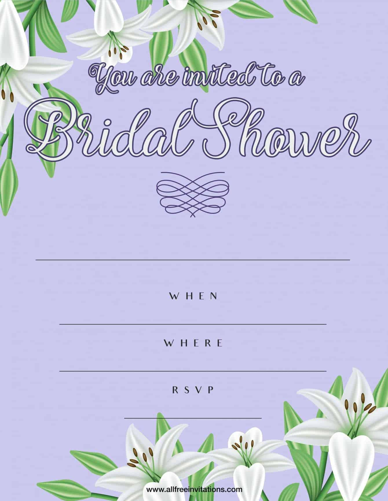 Bridal shower invitation purple and white floral design