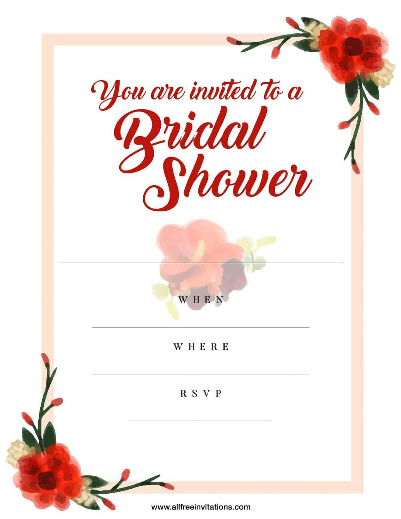 Bridal shower invitation red floral