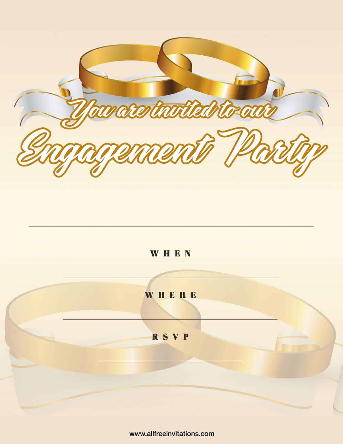 Engagement party invitation beige and gold design