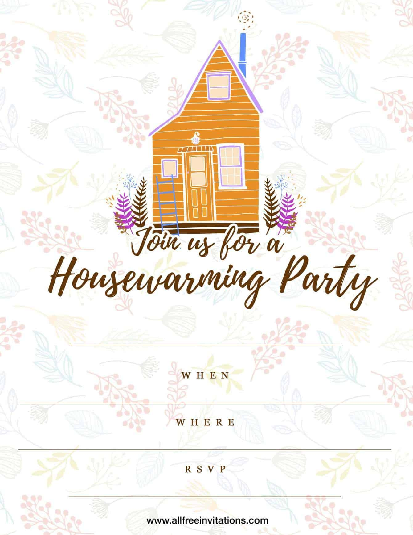 Housewarming party invitation cabin design