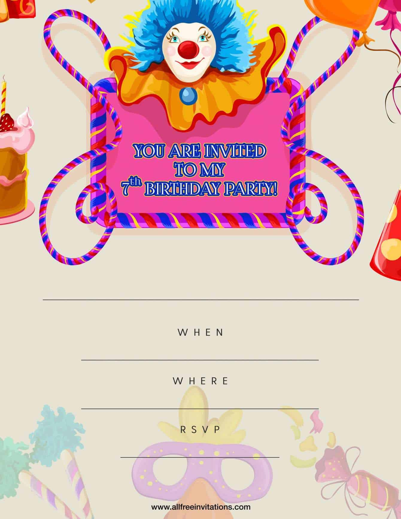 7th Birthday Party Invitation Pink Blue Clown