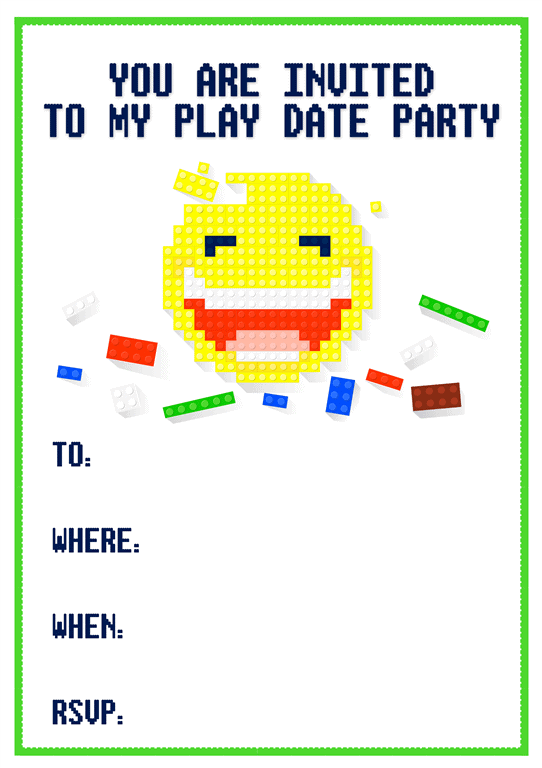 pixel style play date party