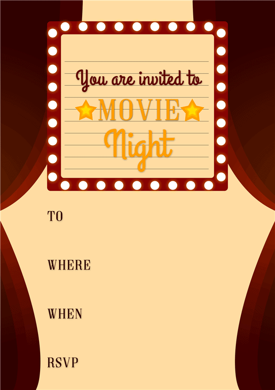 Brown border movie night invitation