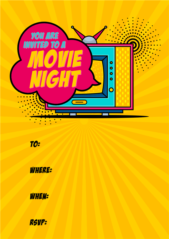 Yellow background cartoon style movie party invitation