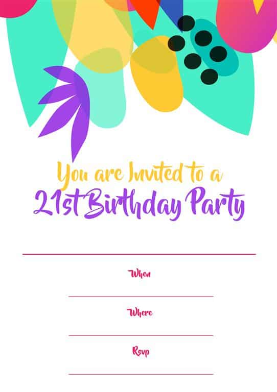Bright colour tropical themed 21st birthday invitation design