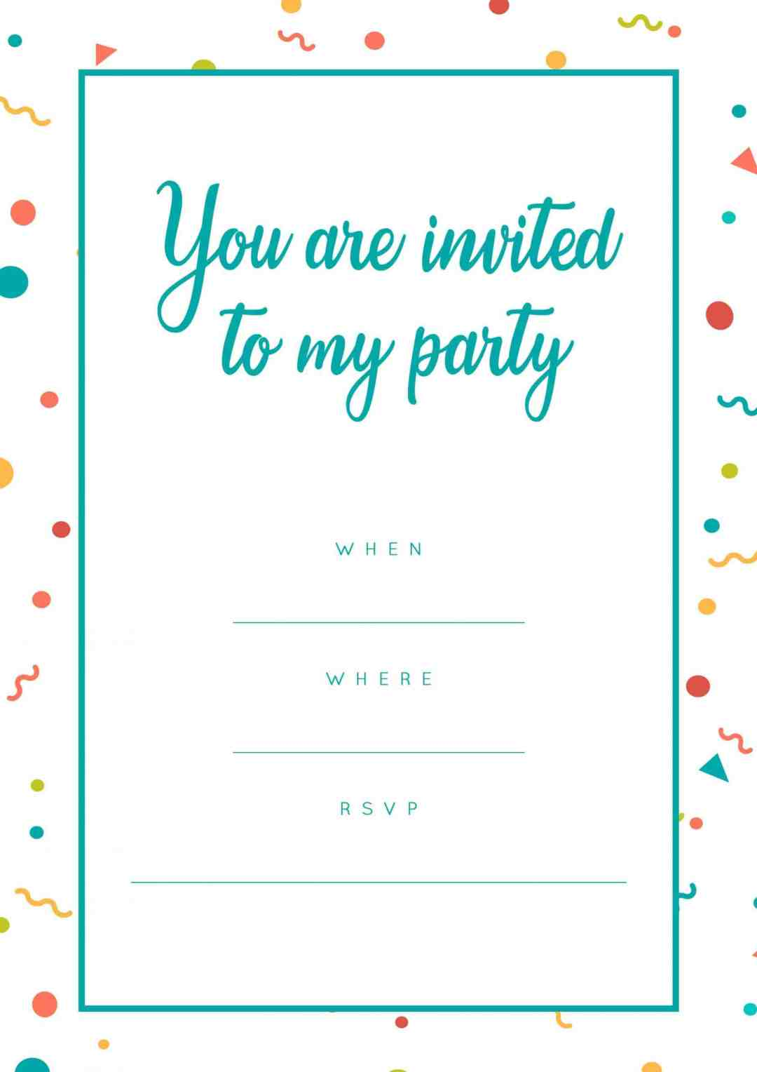 Bright coloured party invitation with pink dots- All Free Invitations