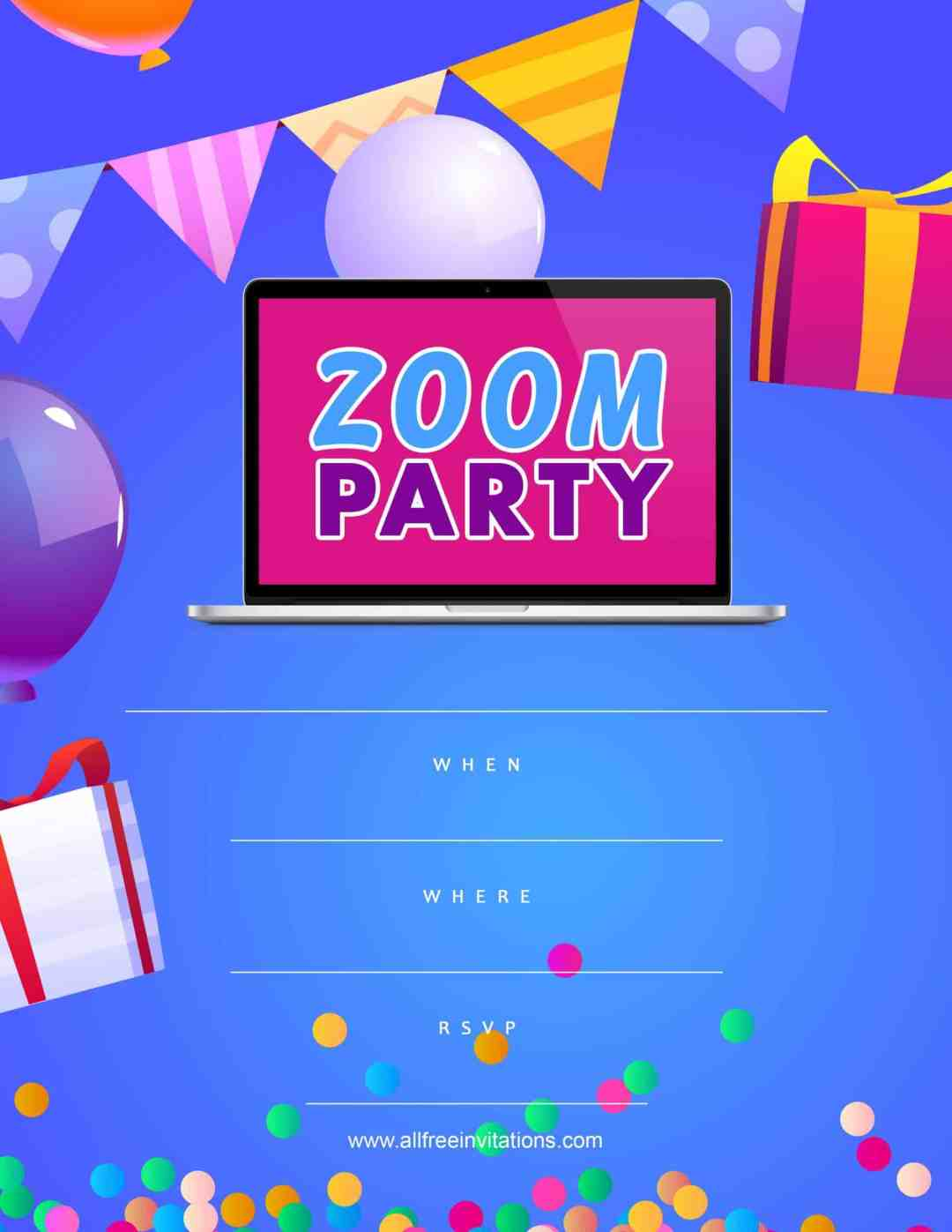 Zoom party invitation - blue purple pink balloons - All Free Invitations