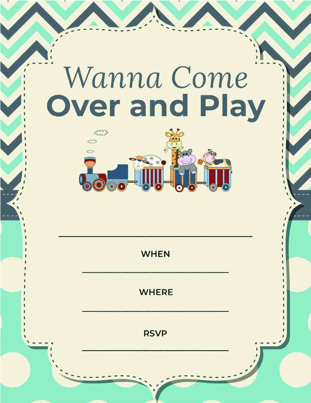 Play Date - Wanna Come Over and Play - All Free Invitations