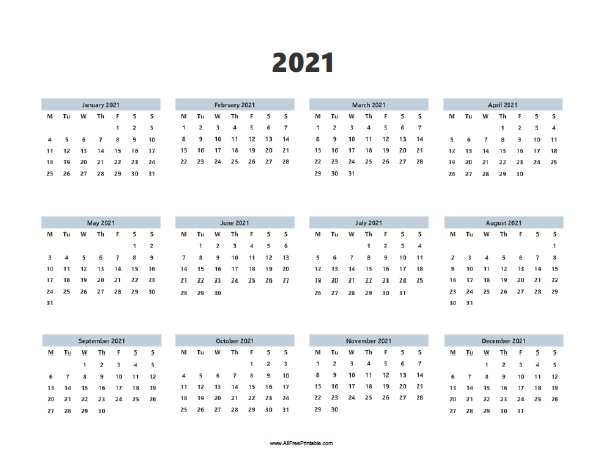 This yearly calendar is available in a horizontal layout. 2021 Calendars | AllFreePrintable.com