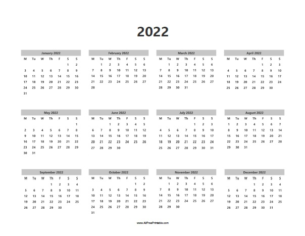 2022 Calendars - Free Printable - AllFreePrintable.com