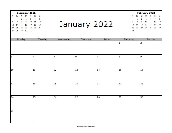 January 2022 Calendar - Free Printable - AllFreePrintable.com