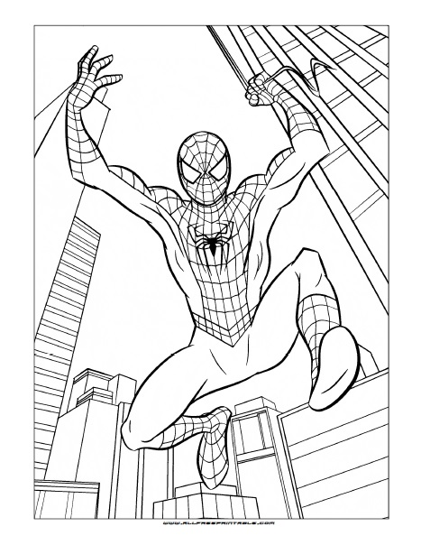 Spider Man Coloring Page Free Printable Allfreeprintable Com