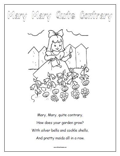 Mary Mary Quite Contrary - Free Printable - AllFreePrintable.com