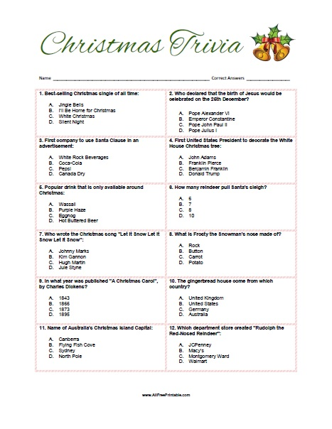 graphic about Christmas Trivia Game Printable identified as Trivia Game titles Absolutely free Printable Online games Globe