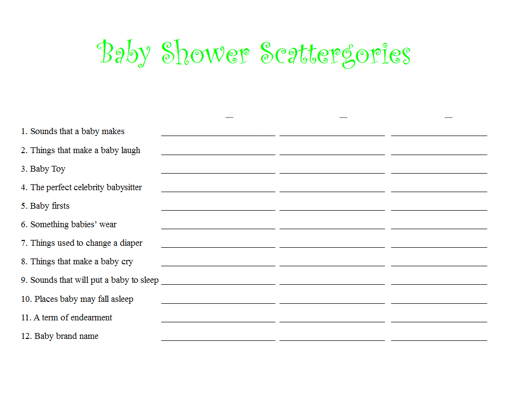 Scattergories Free Printable Sheets