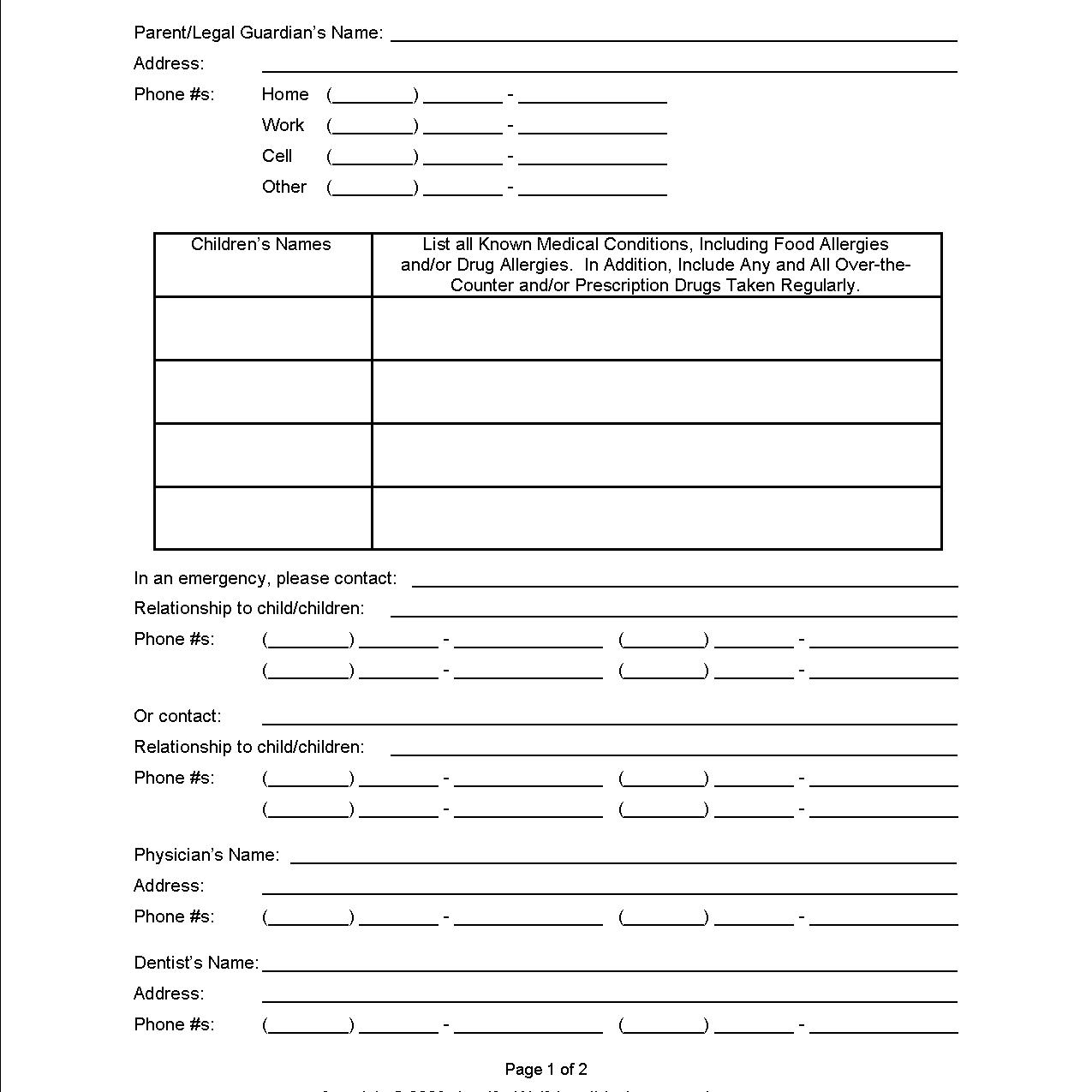 Free Printable Parenting Plan