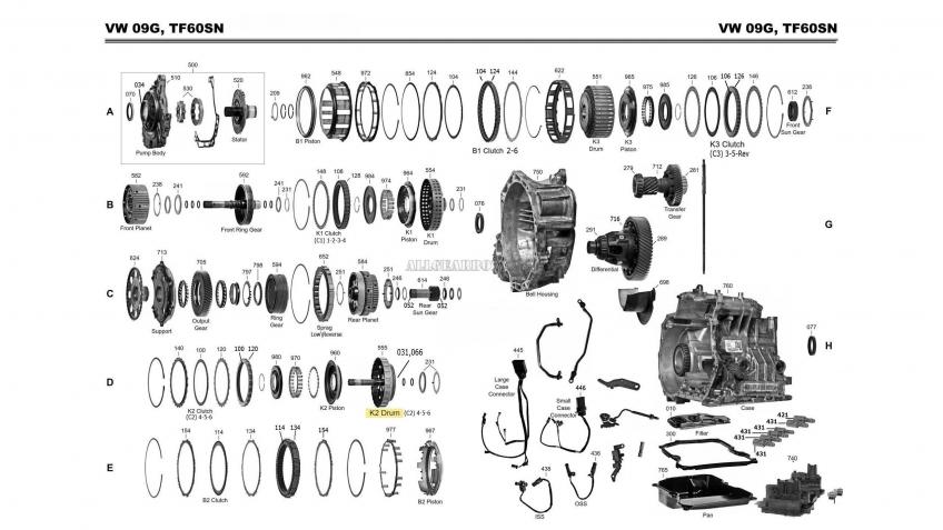 Запчасти АКПП VW 09G, 09K, 09M (AW TF60-SN, TF-61SN, TF