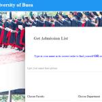 University Of Buea Admission List