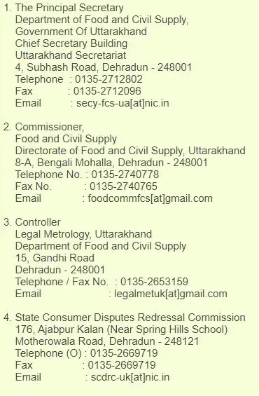 uttarakhand ration card helpline number