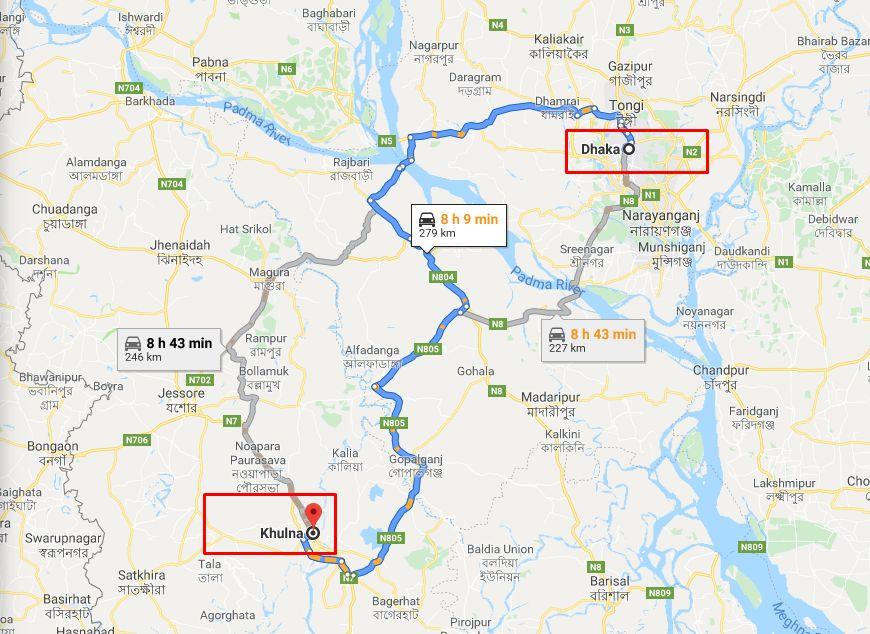 Dhaka to Khulna Train Route Map