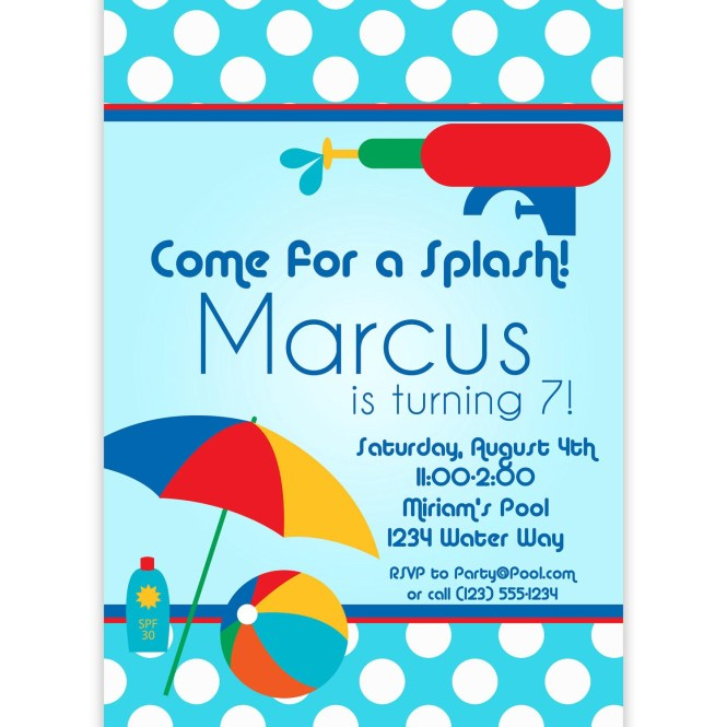 Kids Pool Party Invites Home Ideas
