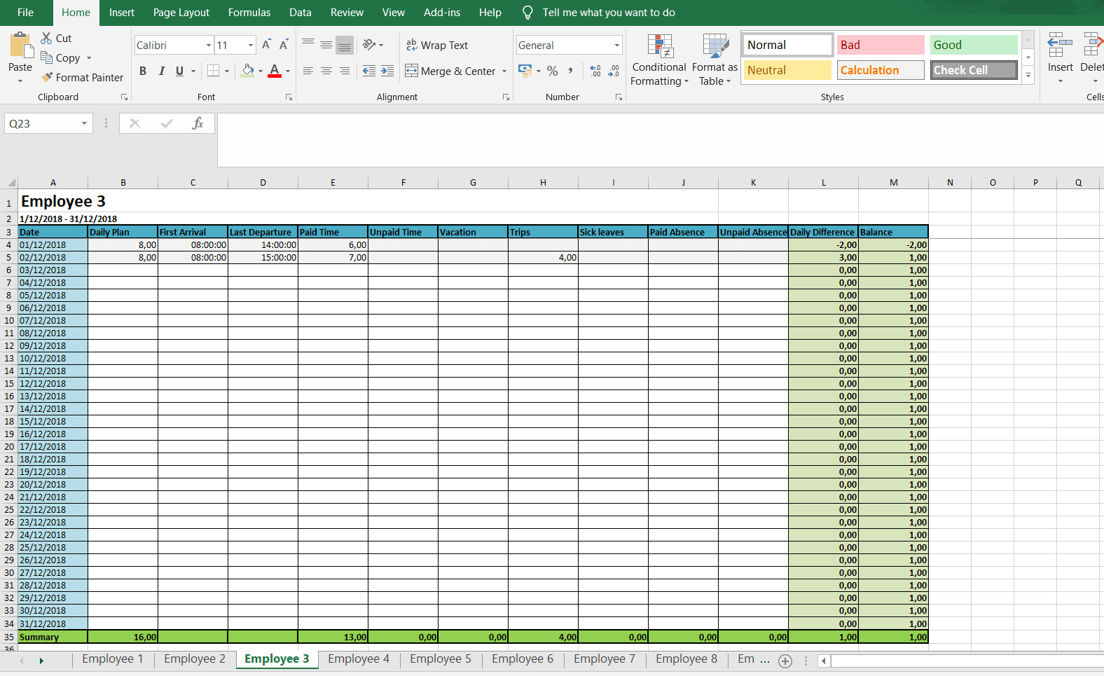 excel templates timesheet