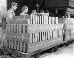Making clay bricks