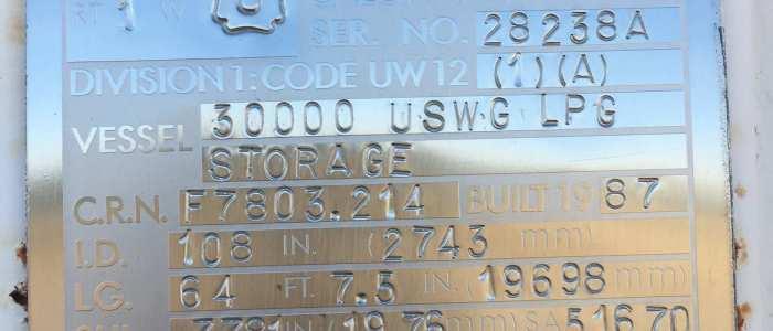Used 30,000 gallon propane bulk tank
