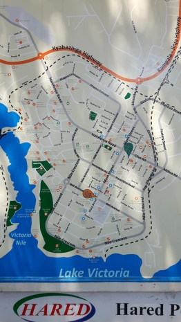 A map of Jinja, found at the Post Office. It's a quaint town