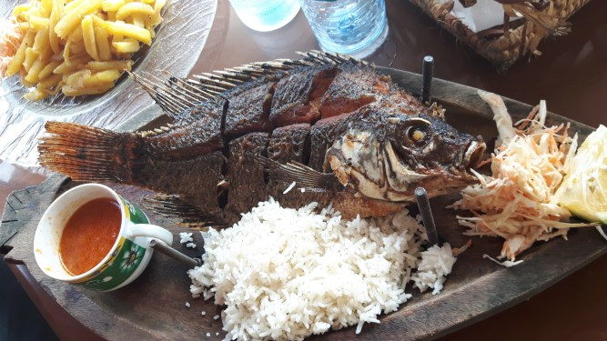 Delicious fresh talapia that we ate on the shore of the Nile River