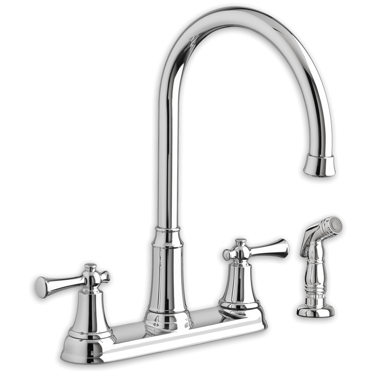 kitchen faucet with side sprayer commercial kitchens american standard portsmouth 2 handle high arc