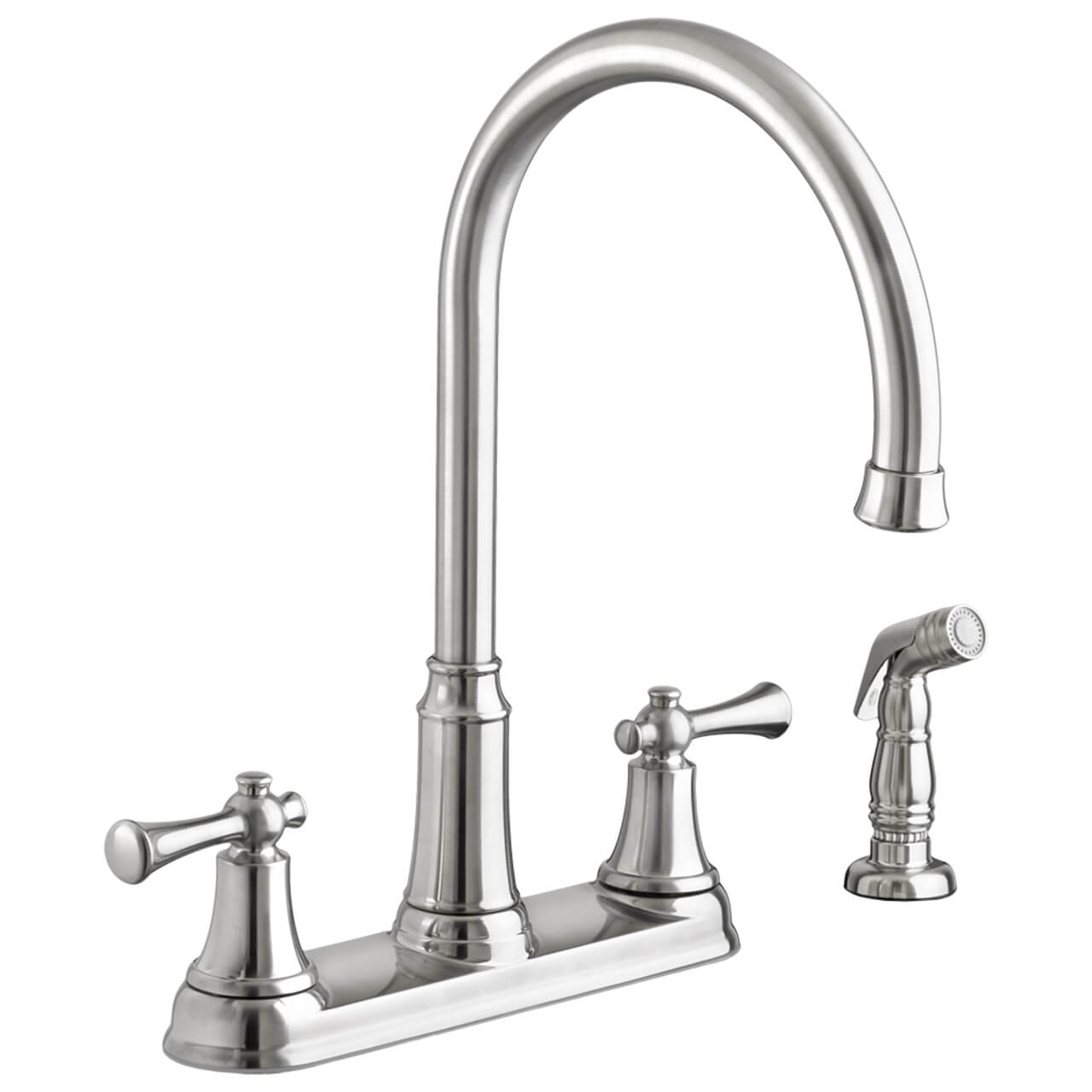 kitchen faucet with side spray bar stools american standard portsmouth 2 handle high arc