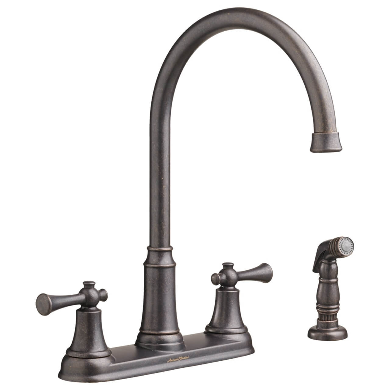 kitchen faucet with side sprayer american standard portsmouth 2 handle high arc
