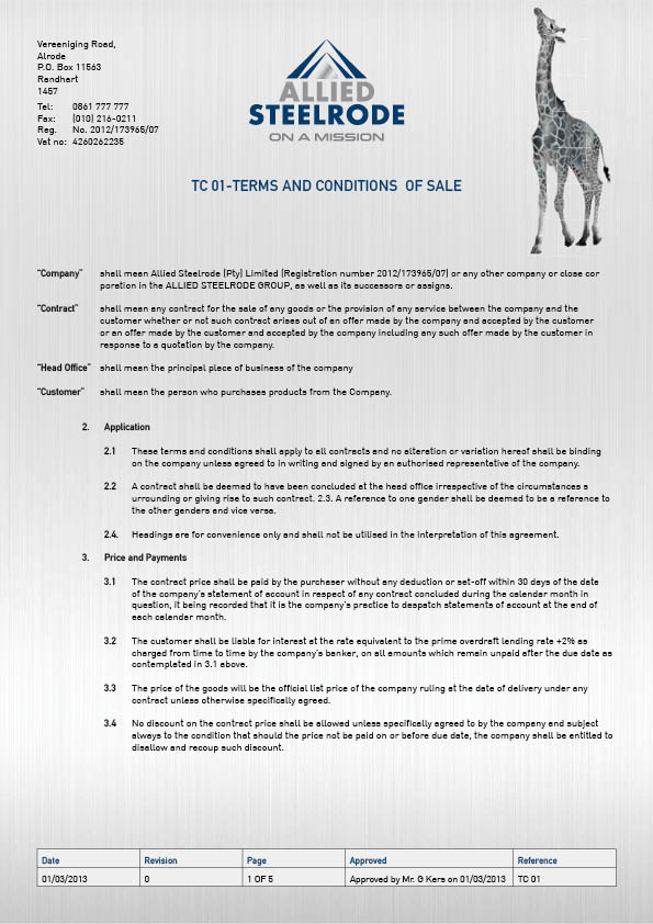 Allied Steelrode - Terms and Conditions