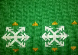 Detail of jumper knitted for Doritos advert 2012