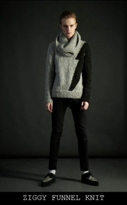 Sons of Heroes AW12 Ziggy Funnel Knit jumper - assisted with the knitting of the prototype (photo from the Sons of Heroes website)