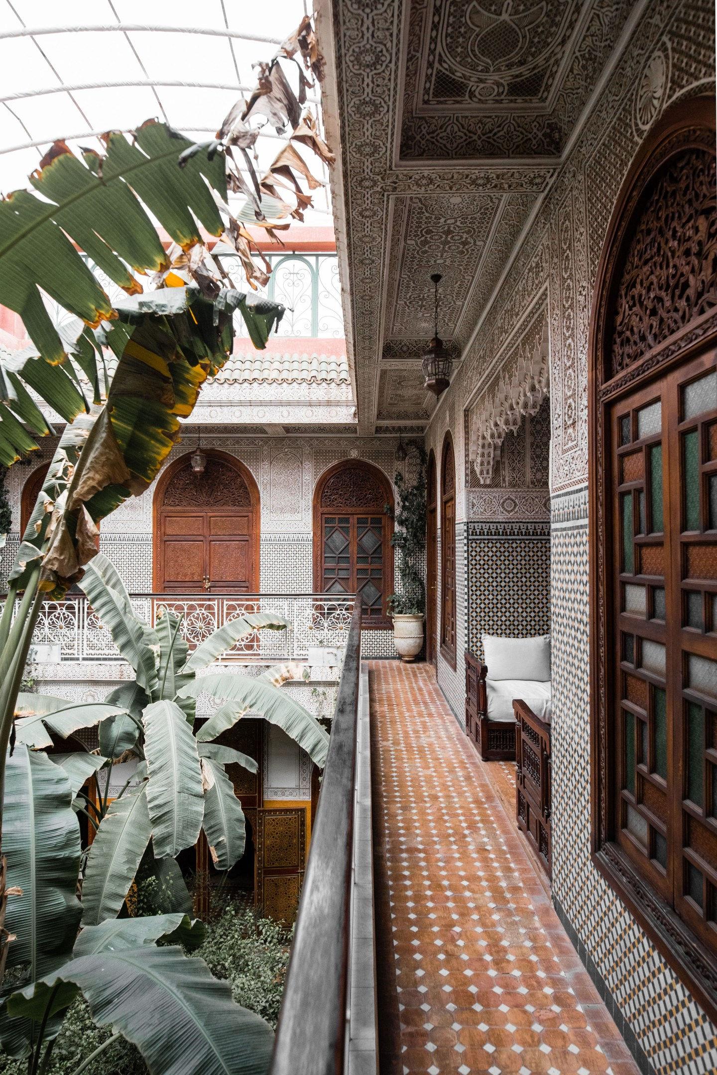 Detailed courtyard of Riad Jardin Secret in Marrakech