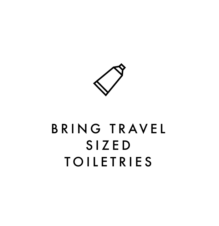 Carry on packing tip #4: Bring travel sized toiletries