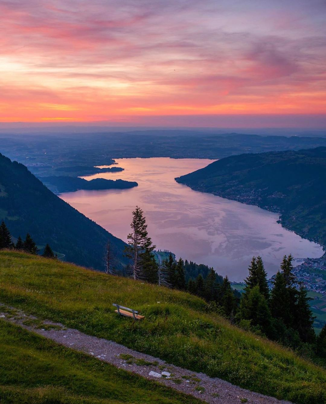 Sunset over Mount Rigi with Lucerne Lake