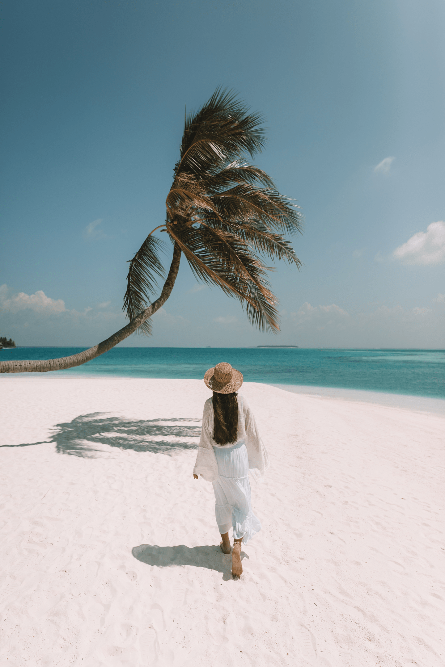 Girl walking towards a palm tree on the beach in the Maldives
