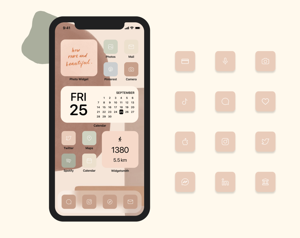 iOS 14 homescreen pink icons